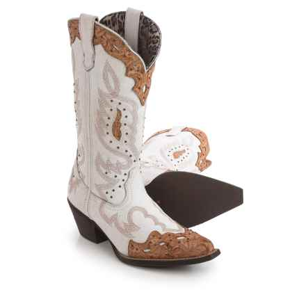 Laredo Cracked Leather Cowboy Boots - Snip Toe (For Women) in White - Closeouts
