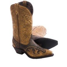 "Laredo Cullision Cowboy Boots - 11"", Snip Toe (For Women) in Black/Tan - Closeouts"