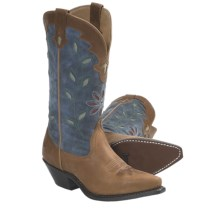 Laredo Cutout Leather Cowboy Boots - Snip Toe (For Women) in Taffy - Closeouts
