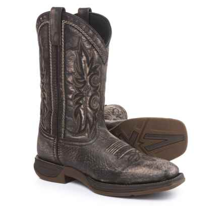 "Laredo Distressed Grant Cowboy Boots - Square Toe, 11"" (For Men) in Distressed Black - Closeouts"