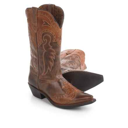 Laredo Distressed Leather Cowboy Boots - Snip Toe (For Women) in Brown - Closeouts