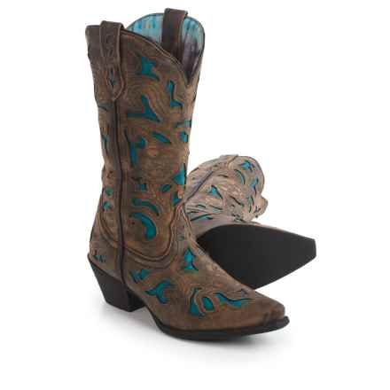 Laredo Leather Inlay Cowboy Boots - Snip Toe (For Women) in Charcoal - Closeouts