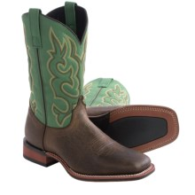 Laredo Lodi Cowboy Boots - Leather, Square Toe (For Men) in Brownstone/Green - Closeouts