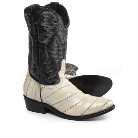 Laredo Marshall Smoke Eel Cowboy Boots - Leather (For Men) in Black/White