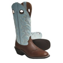 "Laredo Rome Broad Buckaroo Cowboy Boots - 15"", Square Toe (For Men) in Redwood/Blue - Closeouts"