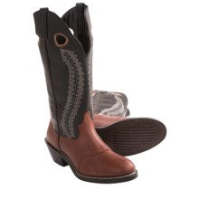 "Laredo Tunica Buckaroo 15"" Cowboy Boots - Leather, Round Toe (For Men) in Black/Tan - Closeouts"