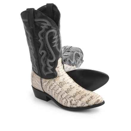 "Laredo Water Snake Cowboy Boots - 12"", Point Toe (For Men) in Black/White - Closeouts"