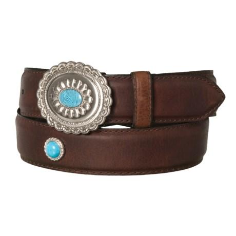 Large Buckle Leather Belt - Single Loop (For Men)