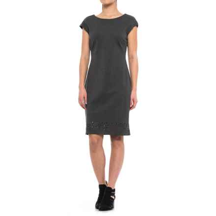 Laser-Cut Sheath Dress - Sleeveless (For Women) in Charcoal - 2nds