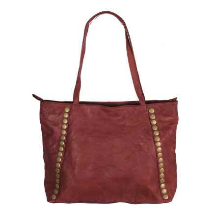 Latico Bowie Tote Bag - Leather in Crinkle Burgundy - Closeouts