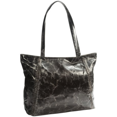 Latico Braided Leather Tote Bag (For Women) in Grey