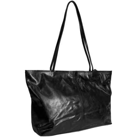 Latico East West Shopping Tote Bag - Leather in Black - Closeouts