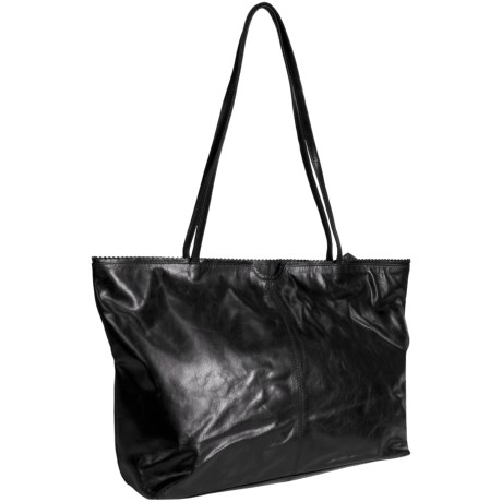 Latico East West Shopping Tote Bag - Leather in Black