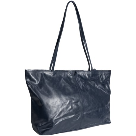 Latico East West Shopping Tote Bag - Leather in Navy