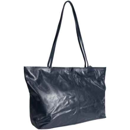 Latico Leathers East West Shopping Tote Bag - Leather in Navy - Closeouts