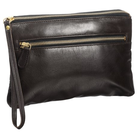 Latico Sheepskin Clutch - Leather (For Women) in Espresso