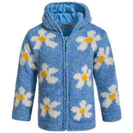 Laundromat Daisy Hand-Knit Hooded Sweater - Wool (For Little Girls) in Blue - Closeouts