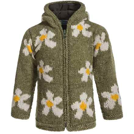 Laundromat Daisy Hand-Knit Hooded Sweater - Wool (For Little Girls) in Olive - Closeouts