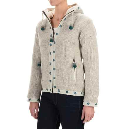 Laundromat Flower Wool Hoodie - Fleece Lined, Full Zip (For Women) in Light Natural - Closeouts