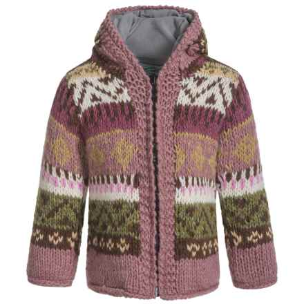 Laundromat Jacquard Hand-Knit Hooded Sweater - Wool (For Little Girls) in Pink - Closeouts