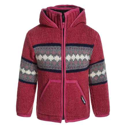 Laundromat Jacquard Stripes Hooded Sweater (For Little Girls) in Light Magenta - Closeouts