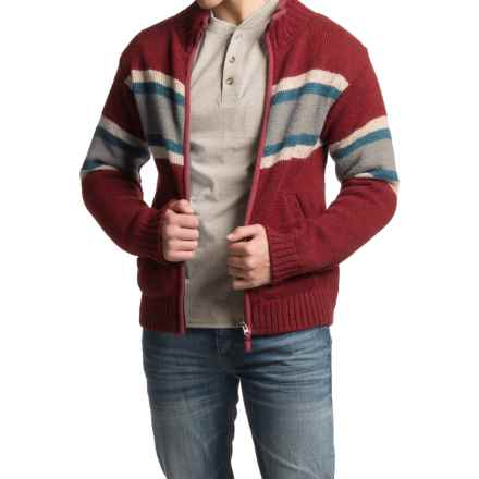 Laundromat Sidney Cotton-Lined Sweater - Front Zip (For Men) in Ruby - Closeouts