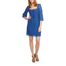 Laundry by Design Crochet Lace Dress - Passion Flower, 3/4 Sleeve (For Women) in Tide Pool - Overstock