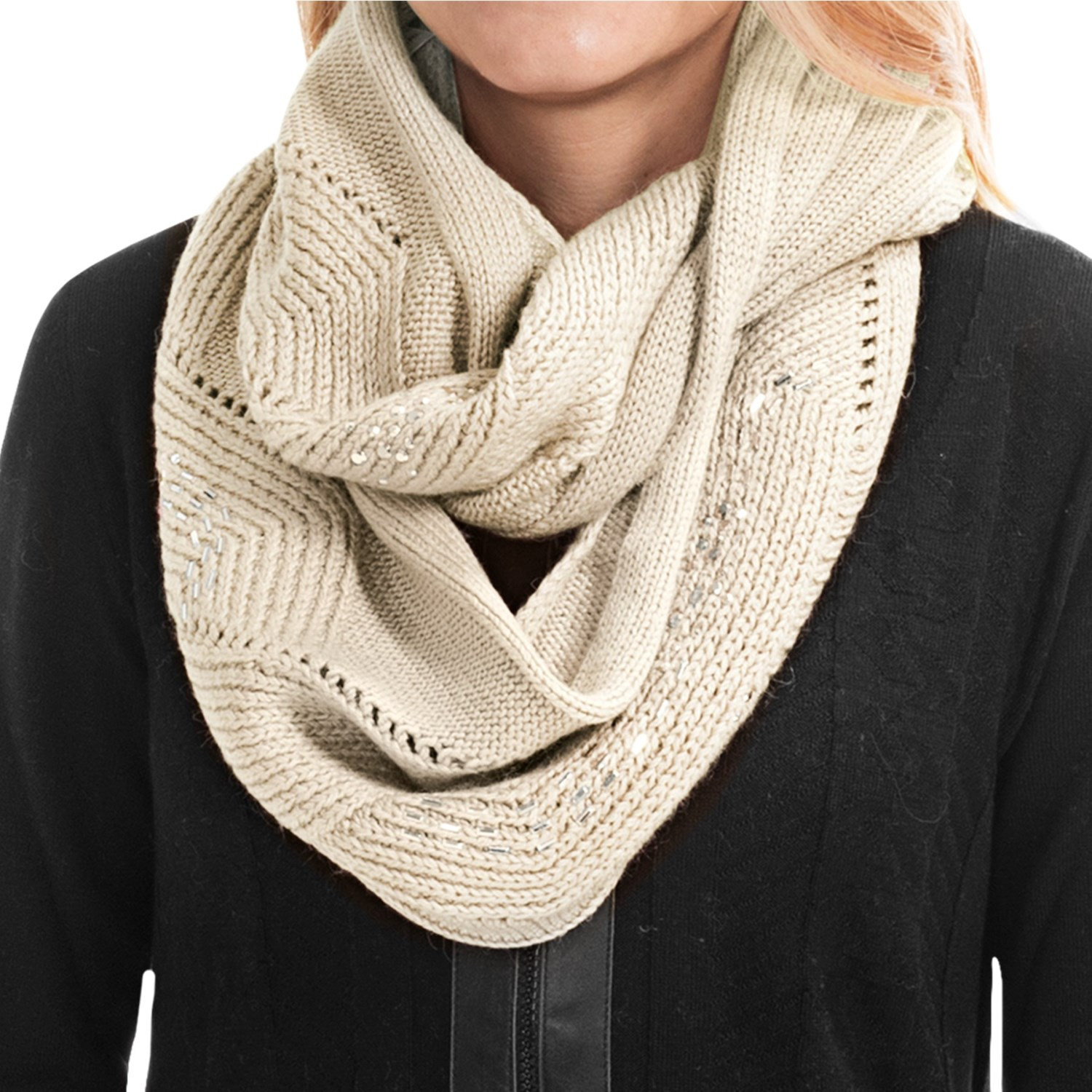 Laundry By Design Embellished Cable Infinity Scarf For