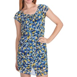 Laundry by Design Geo-Rama Chiffon Blouson Dress - Short Sleeve (For Women) in Tide Pool Multi