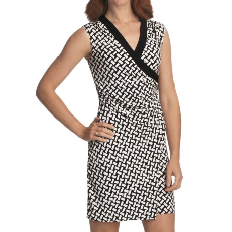 Laundry by Design Jersey Wrap Dress - Sleeveless (For Women) in Black/Optic White