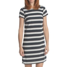 Laundry by Design Lurex Stripe T-Shirt Dress - Short Sleeve (For Women) in Dark Charcoal/Silver - Closeouts