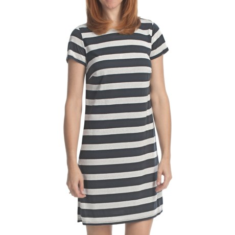 Laundry by Design Lurex Stripe T-Shirt Dress - Short Sleeve (For Women) in Dark Charcoal/Silver