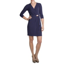 Laundry by Design Matte Jersey Asymmetrical Wrap Dress - 3/4 Sleeve (For Women) in Inkblot - Closeouts