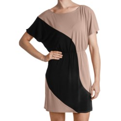 Laundry by Design Matte Jersey Color-Block Dress - Short Sleeve (For Women) in Khaki Multi