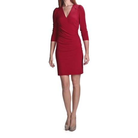 Laundry by Design Matte Jersey Faux-Wrap Dress - Trapunto Stitching, 3/4 Sleeve (For Women) in Rouge