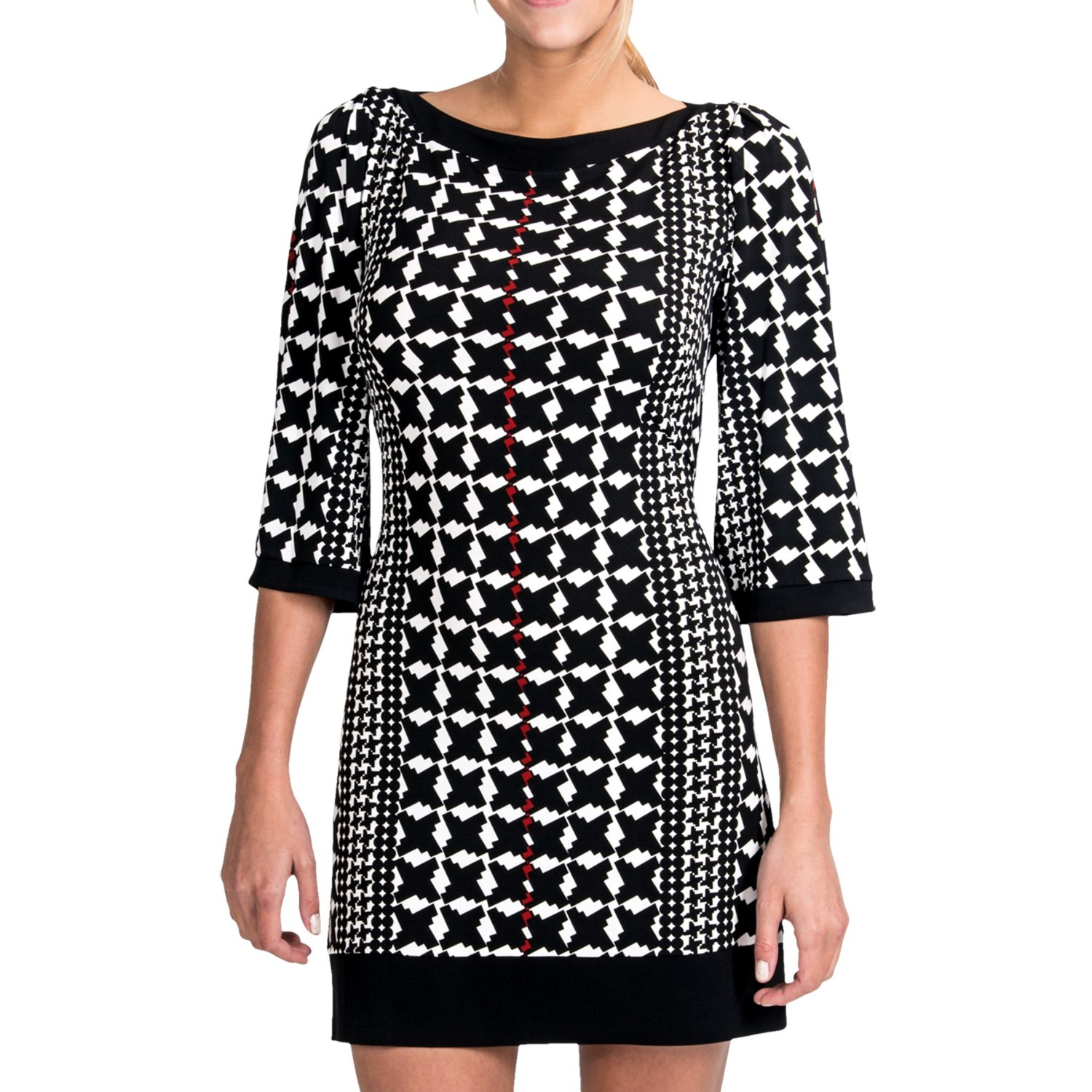 Laundry By Design Matte Jersey Houndstooth Stripe Dress