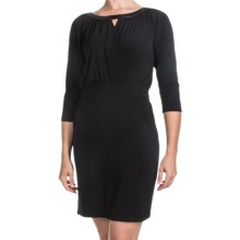 Laundry by Design Matte Jersey Keyhole Dress - 3/4 Sleeve (For Women) in Black - Closeouts