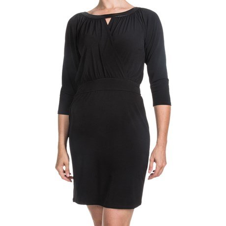 Laundry by Design Matte Jersey Keyhole Dress - 3/4 Sleeve (For Women) in Black