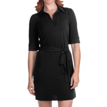 Laundry by Design Matte Jersey Polo Dress - Elbow Sleeve (For Women) in Black - Closeouts
