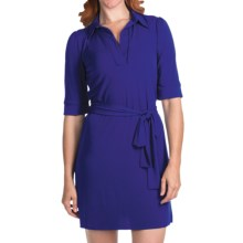 Laundry by Design Matte Jersey Polo Dress - Elbow Sleeve (For Women) in Twilight Blue - Closeouts