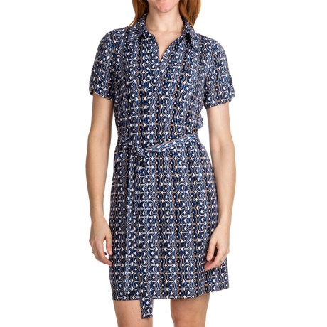 Laundry by Design Matte Jersey Shirt Dress - Johnny Collar, Short Sleeve (For Women) in Inkblot Multi