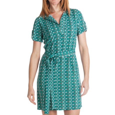 Laundry by Design Matte Jersey Shirt Dress - Johnny Collar, Short Sleeve (For Women) in Seagreen Multi