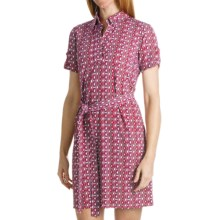 Laundry by Design Matte Jersey Shirt Dress - Johnny Collar, Short Sleeve (For Women) in Shell Pink Multi - Closeouts