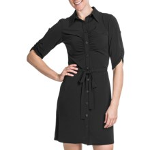 Laundry by Design Matte Jersey Shirt Dress - Short Sleeve (For Women) in Black - Closeouts