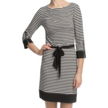 Laundry by Design Matte Jersey Skinny Stripe Dress - 3/4 Sleeve (For Women) in Black Multi - Closeouts