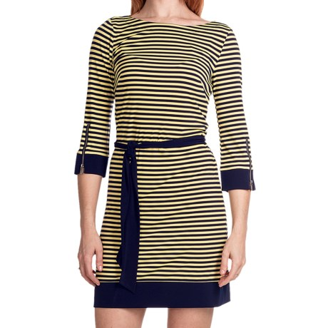 Laundry by Design Matte Jersey Skinny Stripe Dress - 3/4 Sleeve (For Women) in Inkblot Multi