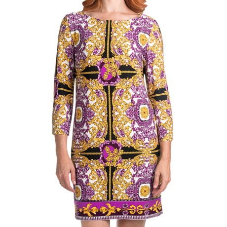 Laundry by Design Matte Jersey Status Scroll Dress - Long Sleeve (For Women) in Boysenberry Multi