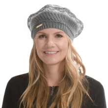 Laundry by Design Mixed Open-Stitch Marled Beret (For Women) in Gray/Shiny White Platine - Closeouts