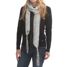 Laundry by Design Open-Stitch Scarf - Lambskin Fringe (For Women) in White/Silver Platine/Grey - Closeouts