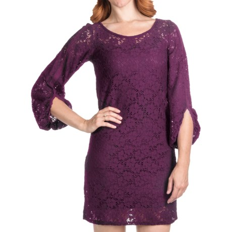 Laundry by Design Passion Flower Lace Dress - Long Sleeve (For Women) in Deep Plum